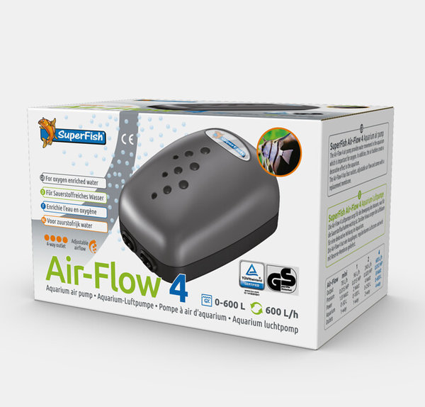 Air Flow Aquarium Luftpumpe 4 Ausgänge